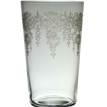 Whisky Tumbler Glass with Engraved Flowers Antique English 19th Century