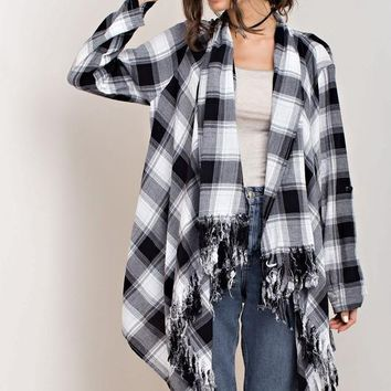 Black Plaid Fringe Cardigan
