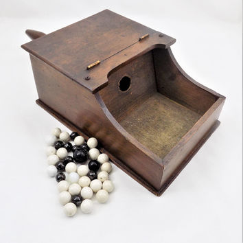 Wood Voting Box with Marbles, Fraternal or Sorority Memorabilia, Masonic or Rainbows, Hand Crafted Voting Box