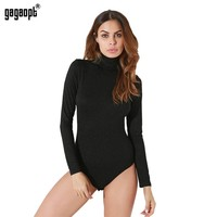 High Street Bodysuits Autumn Women Turtleneck Long Sleeve Black Bodysuit Body Con