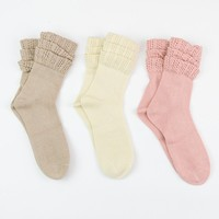 Ruffled Ankle Socks in Set of 3