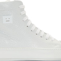 White Grained Leather Adrian High-Tops