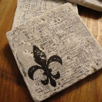 Fleur De Lis Saints over Newsprint Background Coaster Set of 4