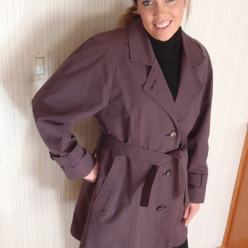 London Fog 10R Womens in Lavender Raincoat Trench Coat Jacket with zip out lining/  Vintage Womens Clothing by Feisty Farmers Wife