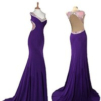 Royal Blue or Purple Backless Chiffon Long Prom Dress, Formal Dress, Military Ball Gown, Evening Dress, Cocktail Dress, Party Dress, Homecoming Dress