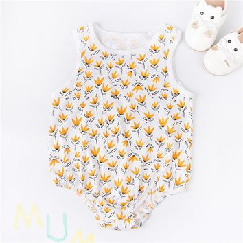100% Cotton Sweet Baby Romper Pajama Summer Twins Baby Clothes Toddler Girls Floral Rompers Yellow Flower Infant Girls One-piece