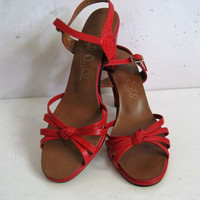 1980s Red High Heel Shoes Joseph Duval Vintage 80s Leatherette High Heel Open Toe Sandals 8B