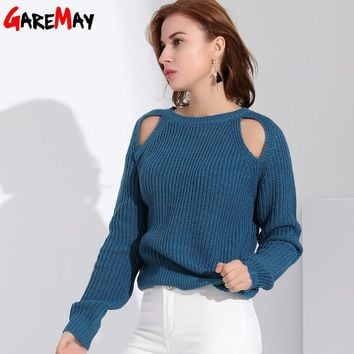 Garemay 2018 Spring Woman Sweater Pullovers Long Sleeve Sexy Oversize Knitted Sweater For Women Jersey Off Shoulder Jumper