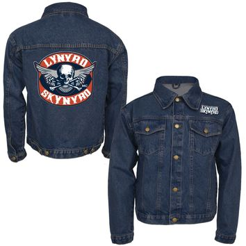 Lynyrd Skynyrd Men's  Biker Patch Denim Jacket Denim Jacket Denim