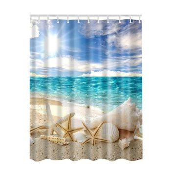 Seascape Sea Beach Picture Bathroom Shower Curtain with Hooks