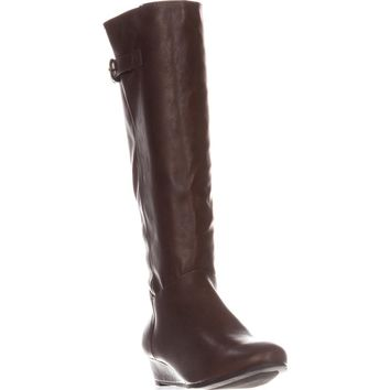 SC35 Rainne Wedge Mid-Calf Boots, Cognac, 11 US
