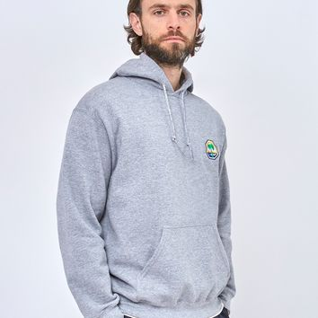 The Idle Man Embroidered Palm Beach Overhead Hoodie Grey
