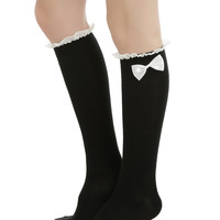 Blackheart Black & White Lace & Bow Knee High Socks