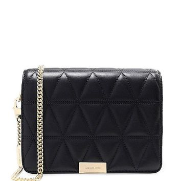 DCCKW7H MICHAEL Michael Kors Women's Quilted Leather Clutch Bag Black