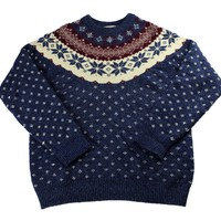 Vintage 90s Winter Snowflake Wool Blend Navy Blue Christmas Sweater Mens Size Medium