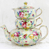 Lord Nelson Ware, Rose Time Chintz, Stackable Teapot, Stacking Tea Pot 12568