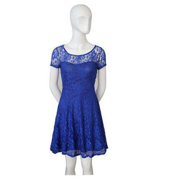 Women Floral Lace Dresses Short Sleeve Party Casual Color Blue Red Black Mini Dress