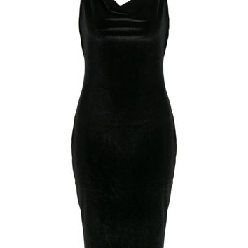 Black Cowl Neck Velvet Cami Bodycon Dress