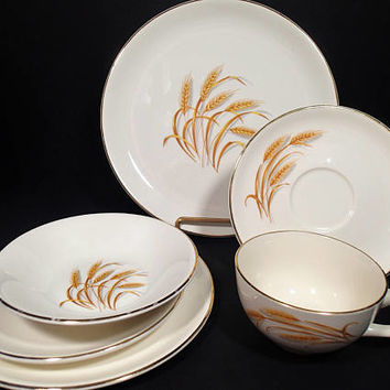 Homer Laughlin Golden Wheat 1960's dinnerware 6 piece place settings 10 sets available sold separately Vintage Mid Century dinnerware