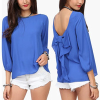 Luxurious Womens Blouse Spring Summer Crew Neck 3/4 Sleeve Loose Back Bow Flouncing Chiffon Blouse 5 Colors = 1695568260