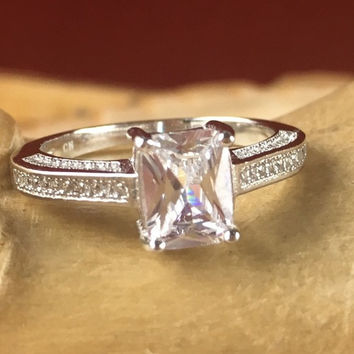 Sterling Silver 1.20 ct Sapphire Solitaire Semi Eternity Engagement Ring JR 014