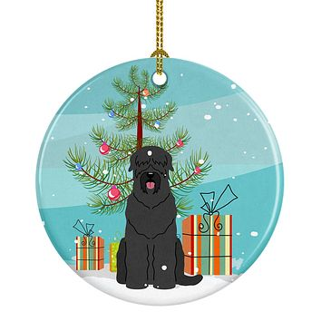Merry Christmas Tree Black Russian Terrier Ceramic Ornament BB4151CO1