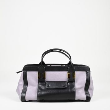 "Chloe Purple Black Leather ""Medium Alice"" Satchel Bag"