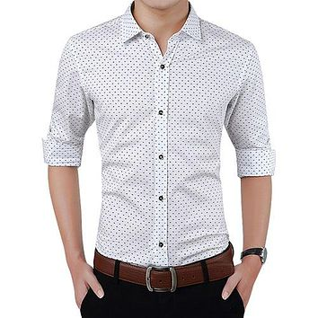 Men Clothes Slim Fit Men Long Sleeve Shirt Men Polka Dot Casual Men Shirt Social