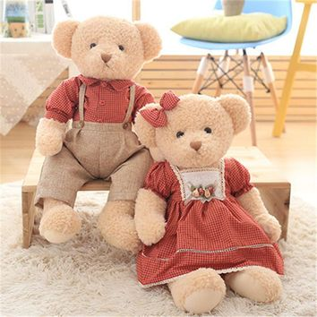 Cute Teddy Bear Plush Toys Couple Bears in Dress Stuffed Dolls Brinquedos Wedding Valentines Kids Friends Peluche Gift