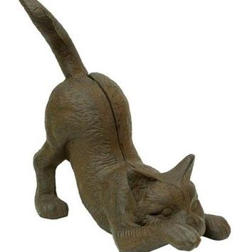 Cast Iron Kitten Door Stop Figurine
