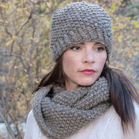 Chunky knit infinity scarf, circle scarf, cowl, hood, barley, taupe with natural flecks