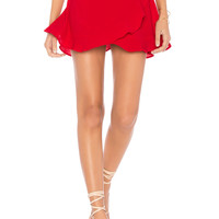 Show Me Your Mumu Roam Ruffle Skirt in Tomato Red Pebble