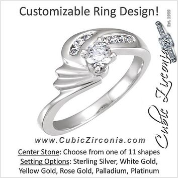Cubic Zirconia Engagement Ring- The Lesley (Customizable with Hand-engraved Round Channel Band)