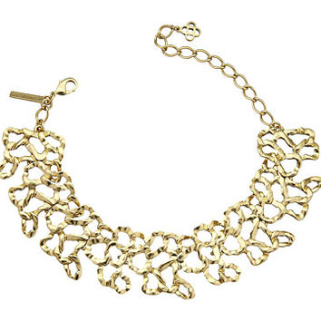 Oscar de la Renta Textured Chain Link Choker with Small Taffeta Bow Necklace
