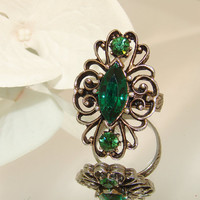 Vintage Marquis Ring Emerald Green Hue Antiqued Silver Filigree Finger Prong or Paste Set Very Good Cond. Adjustable