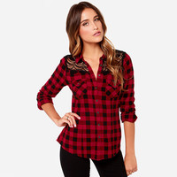 Plaid Double Pocket  Crochet Cutout  Long Sleeve Top