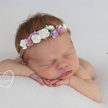 Flower Baby Headband Tieback Flower Crown Kids Bohemian Crown Headband Girls Crown Headband for Newborn Photo Props