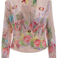 V Neck Floral Print One-Button Blazer