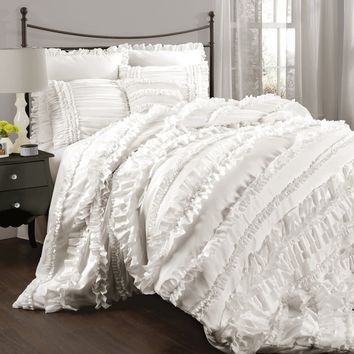 Bellamie 4PC Luxury Romantic Tier Ruffle Comforter Bedding SET