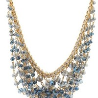 Blue Draped Faceted Bead Bib Necklace by Charlotte Russe
