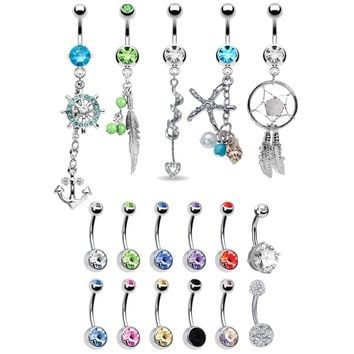 BodyJ4You 17 Belly Button Rings Dangle Barbells 14G Steel CZ Crystals Navel Body Jewelry