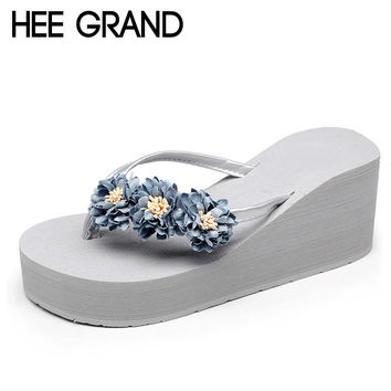 HEE GRAND Beach Flowers Flip Flops 2017 New Wedges Slides Casual Platform Shoes Woman Slip On Creepers Slippers XWT570