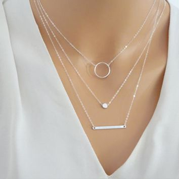 Silver Layered Necklace Set Silver Bar Necklace Jewelry For Women Charm Necklace