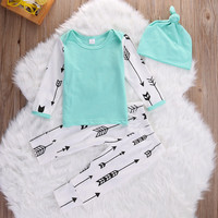 3Pcs Newborn Infant Baby Boys Girls Clothing Top Long Sleeve Cotton Pants Hat Outfit Set Clothes Autumn