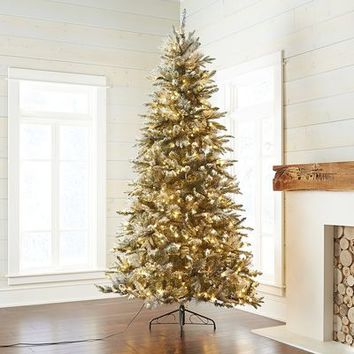 Pre-Lit Artificial Flocked Pine 7.5' Tree