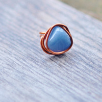 Boho Ring - Ethnic Ring - Angelite Ring - Hippie Jewelry - Tribal Ring - Boho Copper Ring - Healing Ring - Yoga Ring, Cocktail Ring