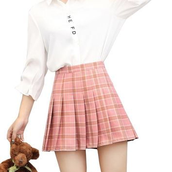 S~3XL high waist plaid skirts womens a line mini pleated short skirt 2017 Preppy Style kawaii skirts shorts summer jupe femme