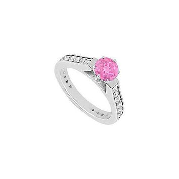 Pink Sapphire and Diamond Engagement Ring : 14K White Gold 1.00 CT TGW
