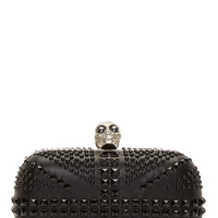 Alexander Mcqueen Black Studded Britania Skull Box Clucth