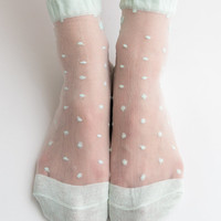Women New Hezwagarcia Hot Mint Color Ribbon Polka dot Sheer Nylon Adorable Ankle Socks Hosiery